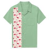 Commerce de gros de vêtements de mens des flamants roses Imprimer épissage chemises vert menthe
