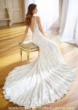 Сада пляжа Mermaid шнурка мантий V-Шеи платье P217205 Bridal полного перемещая