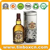 포도 수확 보드카 위스키를 위한 주문 둥근 주석 금속 포도주 상자