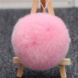 柔らかい毛皮の球のキーホルダーの毛皮のポンポンの球曖昧な動物のKeychain