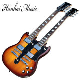 Hanhai 3 couleurs doublent la guitare électrique de chaînes de caractères du collet 6+12