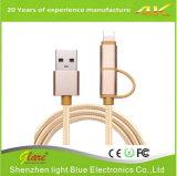 Alta calidad 2.4A 2 en 1 cable micro del USB