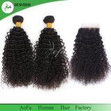 cabelo Mongolian Curly Kinky de Remy do cabelo humano do Virgin da classe 7A