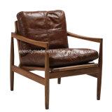 Italienisches Art-Weinlese-Holzrahmen-Wohnzimmerbrown-ledernes Sofa