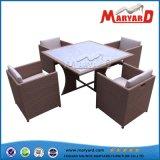 Таблица и стулы мебели ротанга сада обедая для напольного
