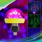 タイプCかマイクロUSB小型RGBの音制御LED球根