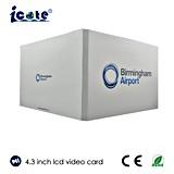El cliente diseñó 4.3 el folleto video de la tarjeta de publicidad de la pulgada TFT LCD con talla de A4 A5