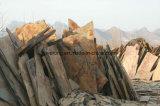 Mattonelle grezze di pietra naturali dell'ardesia di figura casuale irregolare arrugginita gialla poco costosa