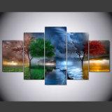 5 Stücke Segeltuch-Kunst-Farbanstrich-für Wohnzimmer-Dekor-modulare Qualität stellt Wand-Kunst-Abbildungen dieser vier Jahreszeit-Baum Serie dar