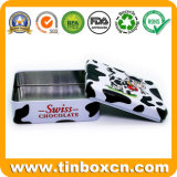 Rectangular de metal personalizados latas de chocolate para la alimentación Embalaje