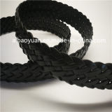 Black Braided Elastic Leather String Belt with Pine Buckle