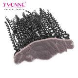 Frontal rizado malasio brasileño del cordón del pelo 13.5*4 de Yvonne