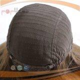 Peluca atada mano superior recta del pelo humano del cuero cabelludo