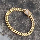 El micr3ofono pavimenta la pulsera de cadena cubana de conexión del oro de la CZ para los hombres