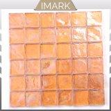 Ámbar Iiridescent cuadrados mosaico de vidrio reciclado para pared/Baldosa