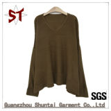 Chandail de tricotage de grand V-Collet occasionnel de haute qualité d'OEM pour des femmes