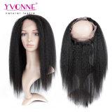 Venda quente 22.5*4 Lace Kinky Frontal do cabelo Virgem Humanos Reta