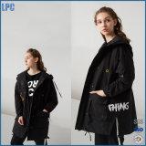 Мода леди за длинный черный ветровку куртка с классическим петличный стереомикрофон