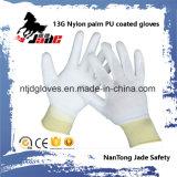 poliéster 13G/luva revestida branca de nylon do plutônio de Plam