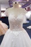 Qualité perlant les robes de mariage nuptiales de lacet