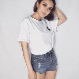T-shirt cultivé modal de mode de coton blanc blanc fait sur commande simple de femmes