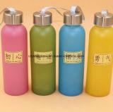 Frost-Farbanstrich farbige Glaswasser-Flasche mit Metallschutzkappe