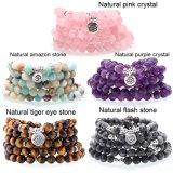 Bracelet en pierre naturelle 108 Mala Yoga Necklace Matte Amazonite Bijoux