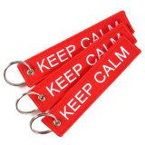 Custom Llavero tejido bordado de doble cara para la promoción de la etiqueta clave