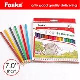 Foska 7.0'' 24 cores Hexagonal de madeira natural de lápis de cor