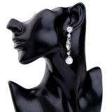 新しく安く優雅で簡単な極度のフラッシュ水晶によって散りばめられる女性のイヤリングの真珠のペンダントの宝石類