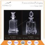 Quadratische Form-Feuerstein-Glas-Whisky-Flasche/Likör-Flasche