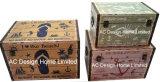 S/3 декоративные предметы антиквариата Vintage красивый дизайн в форме бабочки прямоугольные печати фиолетового цвета кожи/MDF деревянные окна соединительных линий для хранения