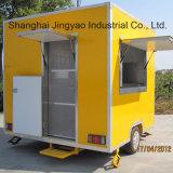 明るく黄色い中国の移動式食糧カートか朝食用食品のトラック