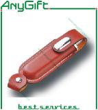 돋을새김된 로고 26를 가진 가죽 USB 섬광 드라이브