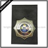 La polizia su ordinazione Badge per il raccoglitore del cuoio genuino (BYH-10026)
