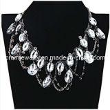 El verano de la moda de joyería /2013 chapado en aleación de zinc con muebles antiguos de resina blanca plata Collar Collar Colgante de Cristal (PN-086)