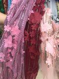 Die meiste würdevolle Qualitäts-Form-Hand bilden Stickerei Newet Ankunft die 3 d-Rose französisches Nettospitze-Gewebe für Kleid