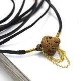 De Lange Zwarte Halsbanden van de Nauwsluitende halsketting van het Leer DIY voor Vrouwen met Onregelmatige Steen