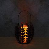 Suporte de vela do metal da coluna com projeto da folha para ornamento da colheita da queda