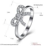 Bowknot de la plata esterlina 925 con joyería del anillo de la manera del Zircon