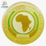 試供品の金によってめっきされる浮彫りにされたエナメルのアフリカの金属襟ピンボタン