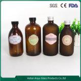 Frasco de xarope de garrafa de vidro farmacêutico ambarino redondo claro com boné