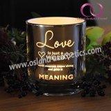 De uitstekende kwaliteit Gegalvaniseerde Kop van de Kaars van de Houder van de Kaars van het Glas met de Woorden van de Liefde