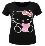 중국 공장은 면에 의하여 인쇄된 여보세요 공동 자금 여성 t-셔츠를 주문을 받아서 만들었다