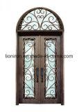 Portas da rua materiais do ferro da porta de entrada dobro do metal comercial