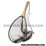 柔らかいナイロン手付属品のハンドルの木のフライフィッシングのマスのたも網