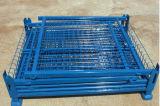 Contenitore d'impilamento pieghevole dell'acciaio della maglia del filo di acciaio di memoria del magazzino