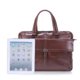 Estilo Vintage Europeu Genuine Leather Tote Bag homens na maleta.