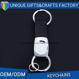 Neuestes Entwurfs-Leder-Metallleerzeichen Keychain für förderndes Geschenk