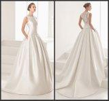 Кружевной назад устраивающих свадебные платья Vestidos Satin свадьбы Gowns Ld11525